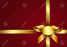 Invitation Card Golden Ribbon Bow And Label On Red Invitation Card Design For