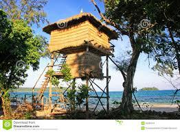 tree house bungalow koh rong island cambodia royalty free stock