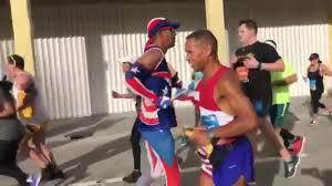Why Is The American Flag Backwards On Uniforms Puerto Rican Man Runs Miami U0027s Half Marathon Backwards