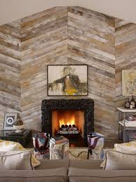 large wood plank accent wall with fireplace jake