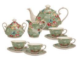 tea set lark manor palmquist 11 porcelain shabby green tea set