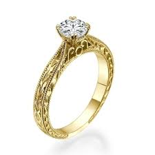 yellow gold engagement ring diamond engraved engagement ring in 18k yellow gold