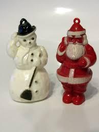 vintage plastic snowman and santa tree ornaments 50s