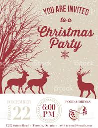 invitation template for a holiday party with deer and snow stock