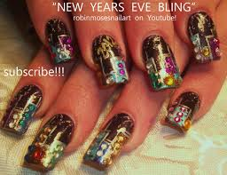 Nail Art Designs For New Years Eve New Years Eve Bling Nail Art Glitter Skyline With Fireworks