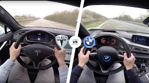 tesla tesla model s p90d ludicrous vs bmw i8 acceleration u0026 top speed