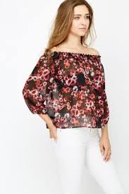 shoulder blouse black floral shoulder blouse just 5