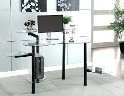 White Corner Workstation Desk Glass Computer Desk With Shelves Corner Workstation White Modern