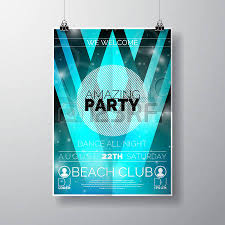 vector party flyer poster template on summer beach theme with