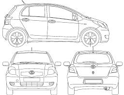 2006 toyota yaris ii 5 door hatchback blueprints free outlines