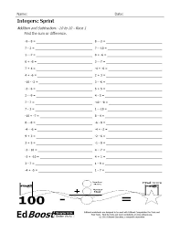 adding negative and positive numbers worksheet integers sprint addition and subtraction 10 to 10 edboost