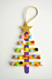 glittering popsicle stick christmas trees made with sticker