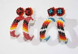 hoop beaded earrings navajo beaded hoop earrings american beadwork earrings