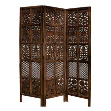 Panel Shoji Screen Room Divider - hand carved patterned mango wood room divider three panel screen