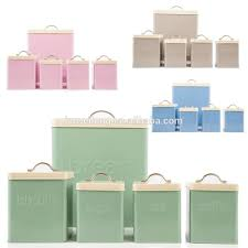 5pc kitchen metal storage set bread bin tea coffee sugar canisters