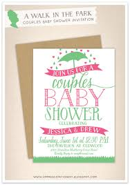 couples baby shower invitations empress stationery a walk in the park couples baby shower invitation