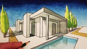 how to draw in 2 point perspective a modern house youtube