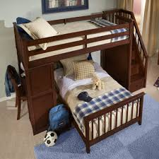 bedroom black walnut wood low bunk bed with three step stair