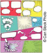 vector illustration of color comic book page template a high