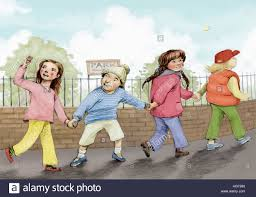 children holding hands walking to park stock photo royalty free