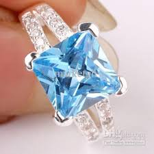 engagement rings with blue stones 2017 9x9mm square princess cut blue topaz silver rings