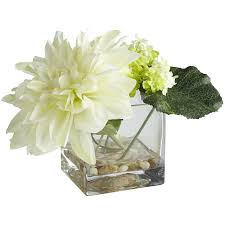 Large Round Glass Vase Dahlia U0026 Snowball In Square Vase Pier 1 Imports