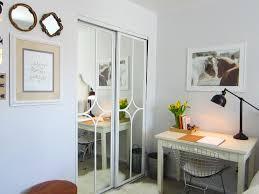 minimalist study room design with sliding mirrored closet doors