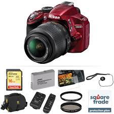 nikon d3200 dslr camera with 18 55mm lens deluxe kit red b u0026h