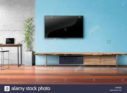 tv on light blue wall with wooden table and plant in pot empty