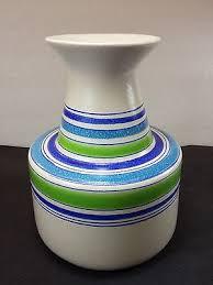 Striped Vase Vintage Aldo Londi Bitossi Blue Green Striped Vase Italy Mid