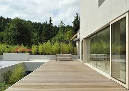 exterior cool modern style wooden deck terrace design natural