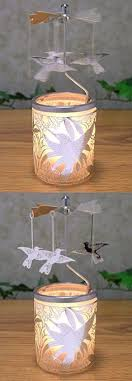 tree silver spinning carousel rotary tea light candle