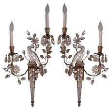 Bird Sconce Pair Of Pe Guerin Crystal Bird Bagues Style Sconces W Antique Gold