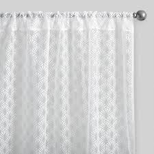 Geometric Burnout Shower Curtain Tan White Fan Burnout Sheer Curtains Set Of 2 World Market