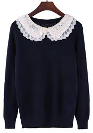 black sweater with white collar blue lace beading pan collar acrylic sweater sweaters tops