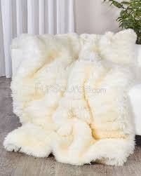 Faux Fur Blankets And Throws Ivory White Sheepskin Fur Blanket Throw Fursource Com