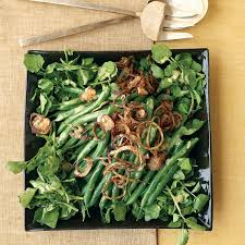 green bean watercress and crispy shallot salad