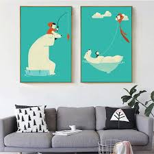 Aliexpresscom  Buy HAOCHU Nordic Minimalist Blue White Animal - Canvas paintings for kids rooms