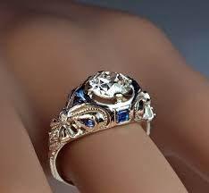 deco engagement ring deco diamond sapphire engagement ring for sale at 1stdibs