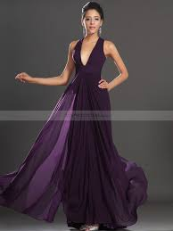 plunging neckline plunging neckline chiffon a line prom dress with x back