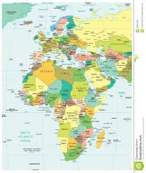 Africa Geographical Map by Europe U0026 Africa Region Political Divisions Map Stock Illustration