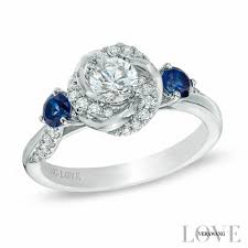 swirl engagement rings vera wang collection 5 8 ct t w and blue sapphire