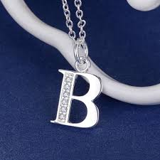 aliexpress com buy letter b bling zirconsilver plated necklace