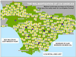 Map Of Los Angeles County by Terrifying New Map Shows Walmart U0027s Anticipated Growth In L A