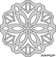 page of snowflake patterns designed for scroll saw work but