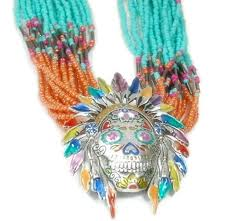 sugar skull indian chief necklace mixed seed beaded necklace sugar