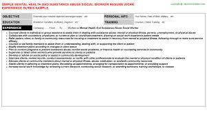 exles of social work resumes mental health worker resume