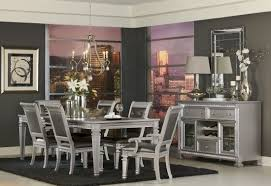 silver dining room bevelle silver extendable dining room set from homelegance