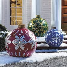 christmas decorations for outside outdoor lighted christmas ornaments the green