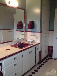 Tiled Vanity Tops Jodi Saves Her 1949 Maroon And Pink Bathroom With Amazing Vintage